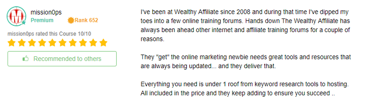 Wealthy Affiliate getting started testimony four