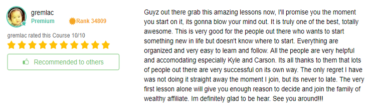 Wealthy Affiliate getting started testimony