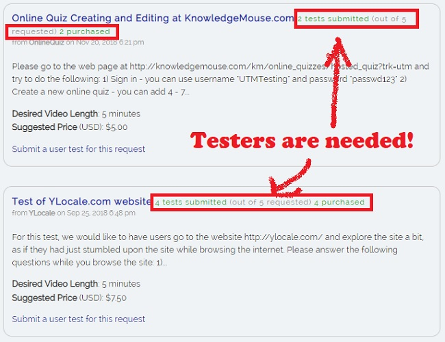 User Testing Market test request