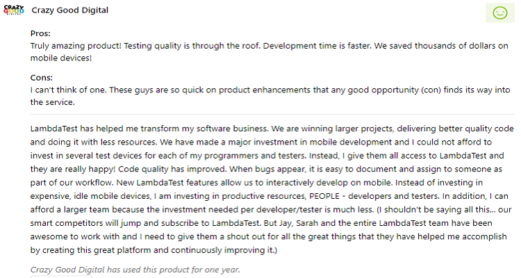 LambdaTest user satisfaction awesome product