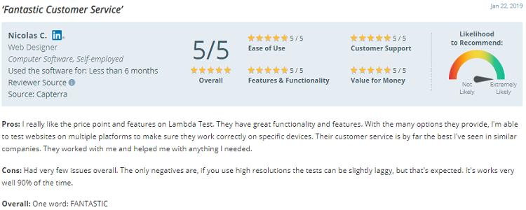 LambdaTest user satisfaction fantastic customer service