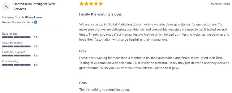 LambdaTest user satisfaction no complaint