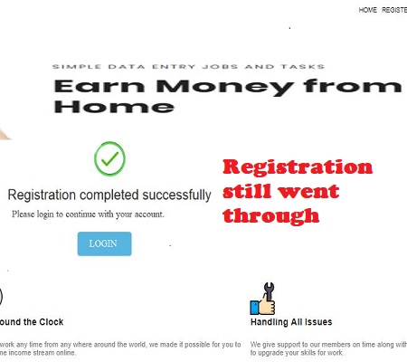 Taking Work Scam registration