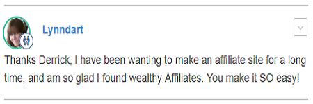 Wealthy Affiliate comment