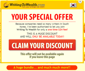 Writing To Wealth downsell