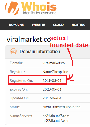 Viral Market founded day by whois