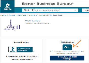 Acti-Labs BBB rating