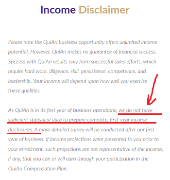 QuiAri income disclosure