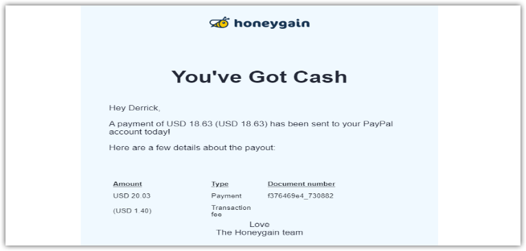 Honeygain payment proof for bundle sharing