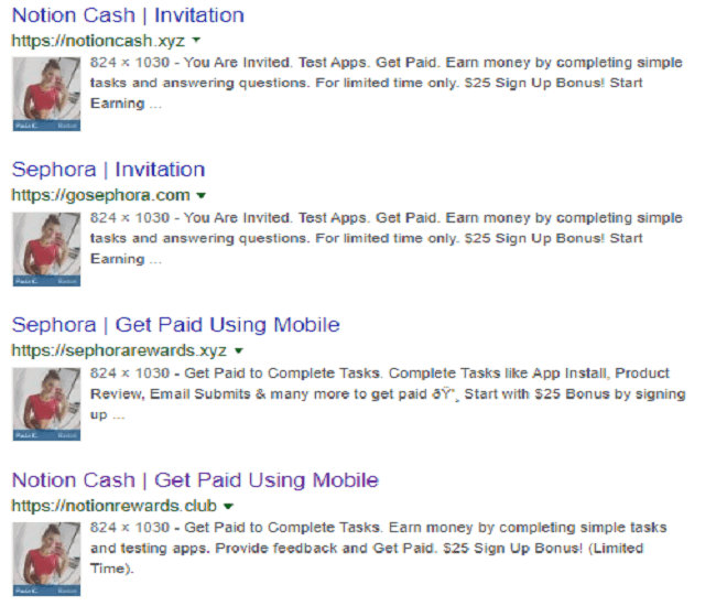 Notion cash fake proof revealed on google search