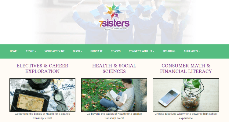 7Sisters Homeschool Affiliate Program for homeschooling bloggers